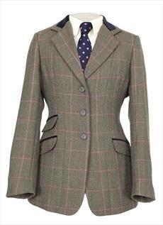 shires ladies huntingdon jacket green-pink check